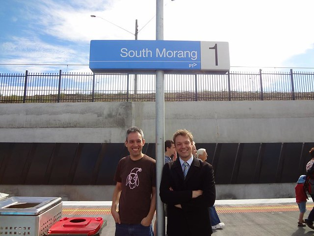 Daniel Bowen and Darren Peters at the South Morang station open day