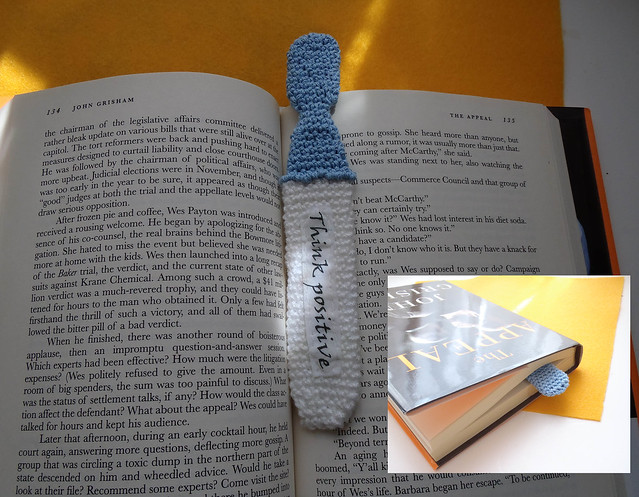 Crochet bookmark pregnancy test says Think positive pregnance announcement