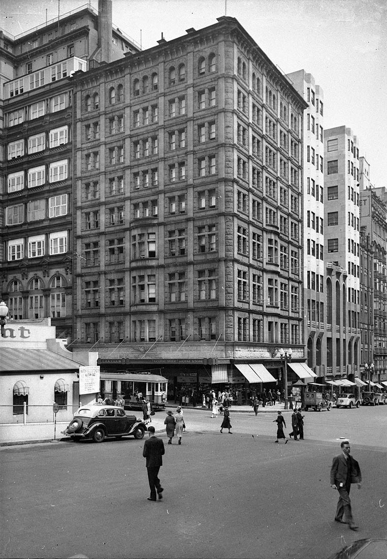 Martin Place and Castlereagh Street; Hotel Australia, Sydney, ca. 1935 / photographers Hall & Co.