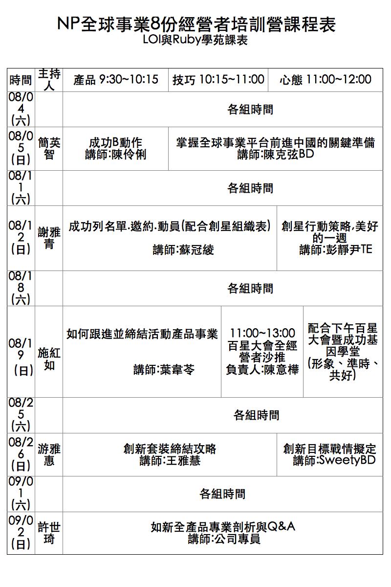 NP全球事業 臺北總部  2012年8月份課程表 02