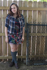 Meet Hazel outfit: ruffled floral dress, vintage cape-cut plaid jacket, knee socks, Wanted brown leather oxfords