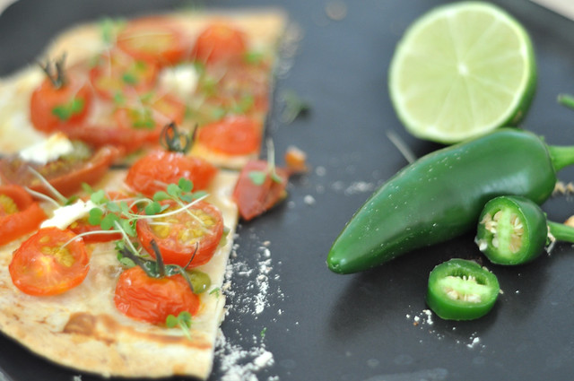 tortilla pizzas with jalapenos and lime