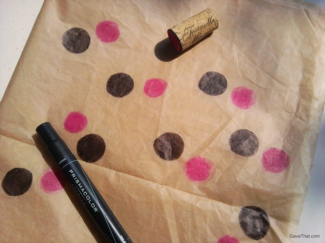 Making DIY Black and Pink Polka Dot Wrapping and Tissue Paper using ink and wine cork