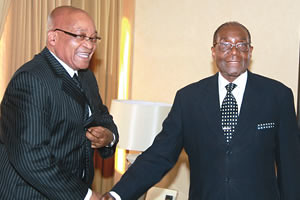 Republic of South Africa President Jacob Zuma with Republic of Zimbabwe President Robert Mugabe at their meeting in Harare on August 15, 2012. The two leaders discussed the Global Political Agreement. by Pan-African News Wire File Photos