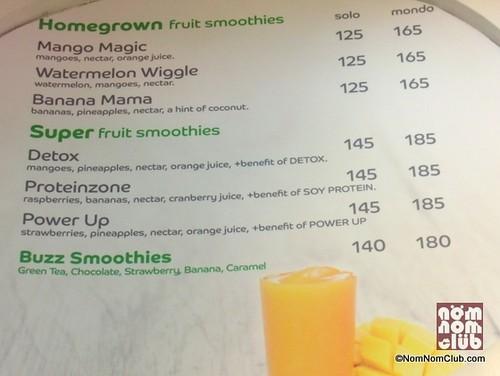 Mondo Juice Menu Board