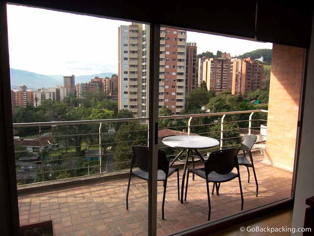 The large balcony of the first apartment I'm renting in Poblado