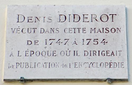 Denis Diderot plaque - 3 rue de l'Estrapade, Paris 5