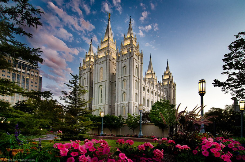 Salt Lake Temple in the evening.