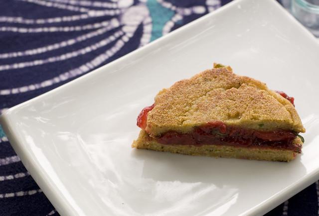 cornbread jam sandwich