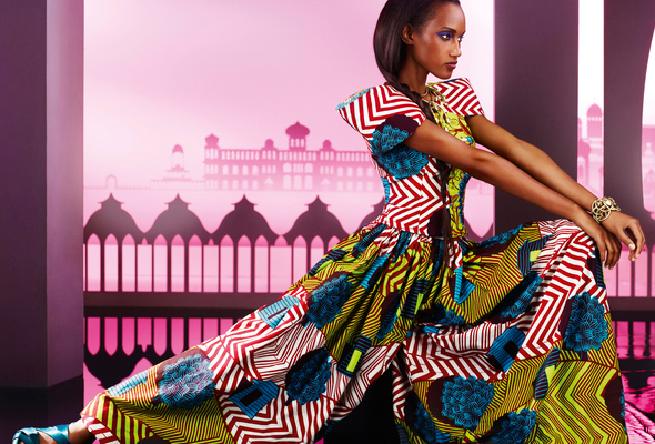 Get that lavish look with paisley patterns in bright colors and vibrant floral fabrics - Photo credit Vlisco