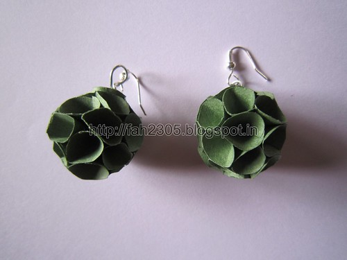 Handmade Jewelry - Paper Cone Globe Earrings (Green) (1) by fah2305