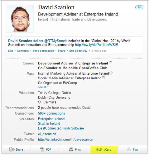 vCard in LinkedIn