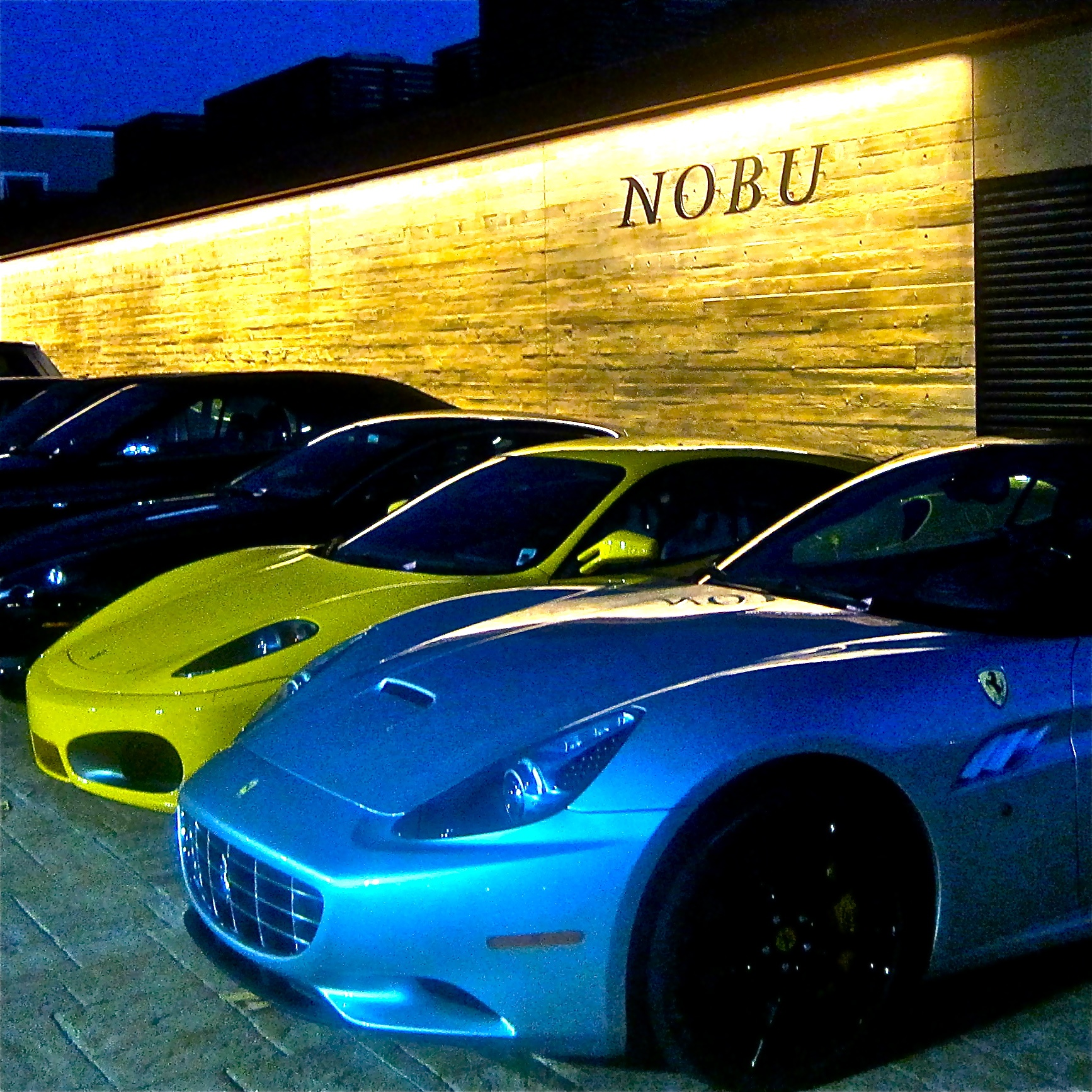 Nobu entrance -note two luxuripis Ferraris