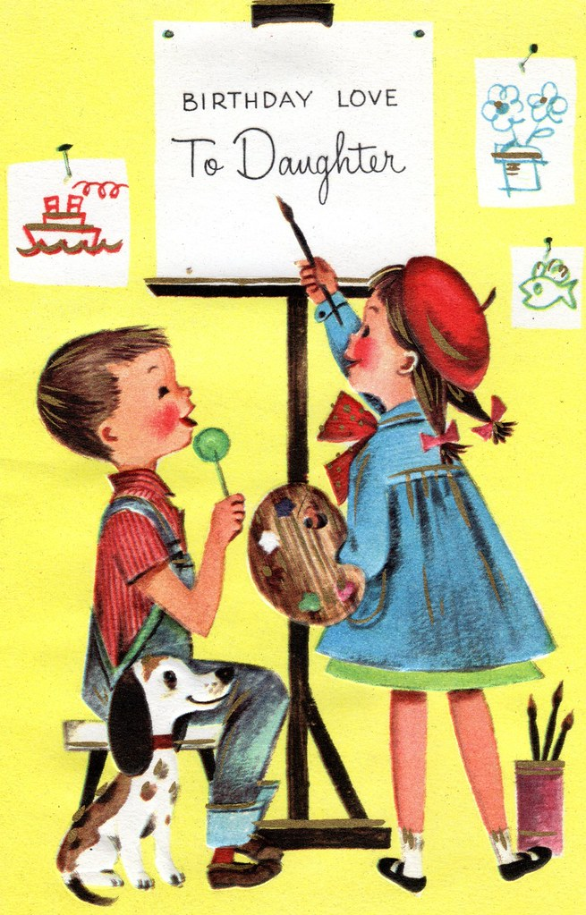 Vintage Birthday Card To Artist Daughter