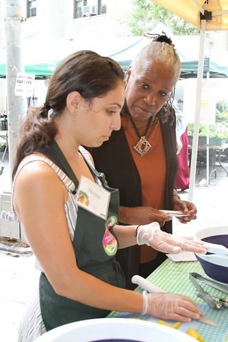 Nicole Stavrinos (left), a culinary nutritional specialist, Stellar Farmers Markets with USDA administrator Audrey Rowe