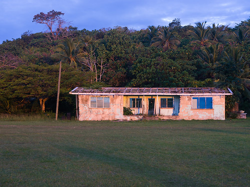 house abandoned derelict niue hikutavake island pacific evening sunset forest jungle travel holiday
