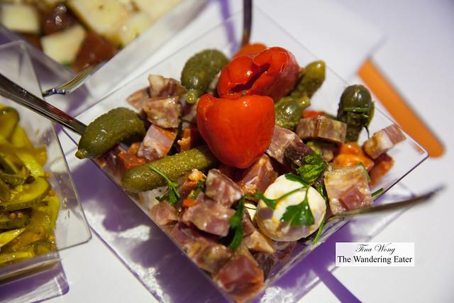 Charcuterie plate - Marinated sopressata, cillingini cheese, cornichons, peppadou peppers