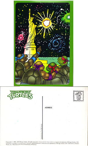 "Random House:: Teenage Mutant Ninja Turtles - ""GREETINGS FROM THE SEWER"" POSTCARD BOOK  ; 'Ellis Island FireWorks' ..art by Gill Fox (( 1990 ))"