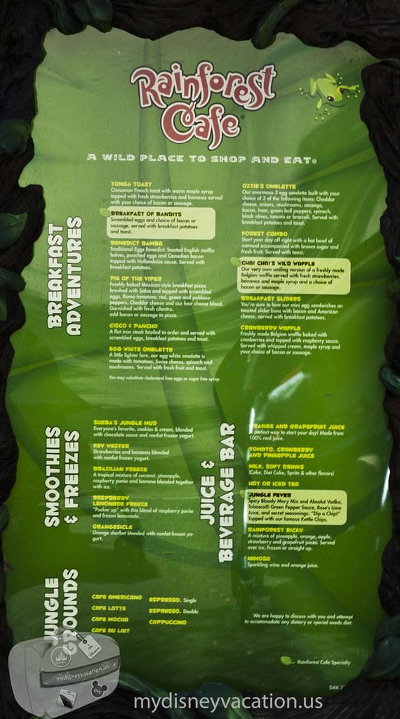 Rainforest Cafe Menu Disney Springs Prices