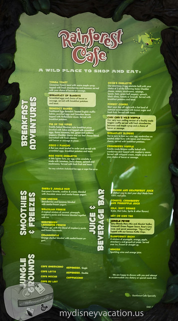Rainforest Cafe Menu Prices Great Lakes Crossing
