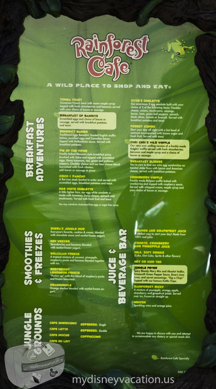 Rainforest Cafe Menu And Nutrition