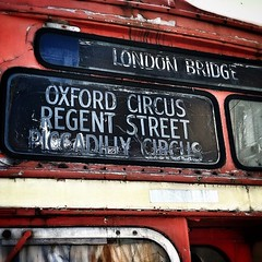 Vintage Double decker bus sign.