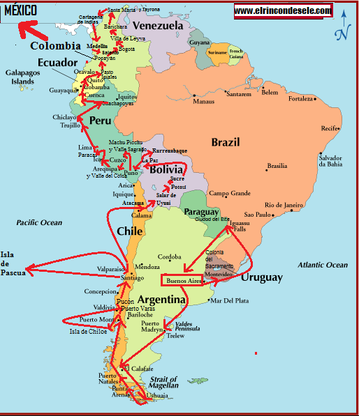 Mapa ruta Sudamérica