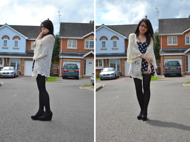 daisybutter - UK Style and Fashion Blog: what i wore, SS12, british style, upcycling, topshop crochet kimono, polka dots, how they wear