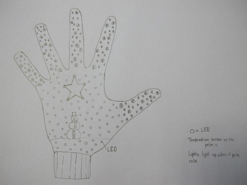 Student's wearable tech / circuit drawing