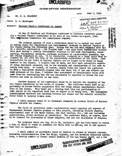 Call for a postwar conference on nuclear physics June 3 1946