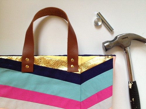 Art-Inspired Chevron Tote Bag 18