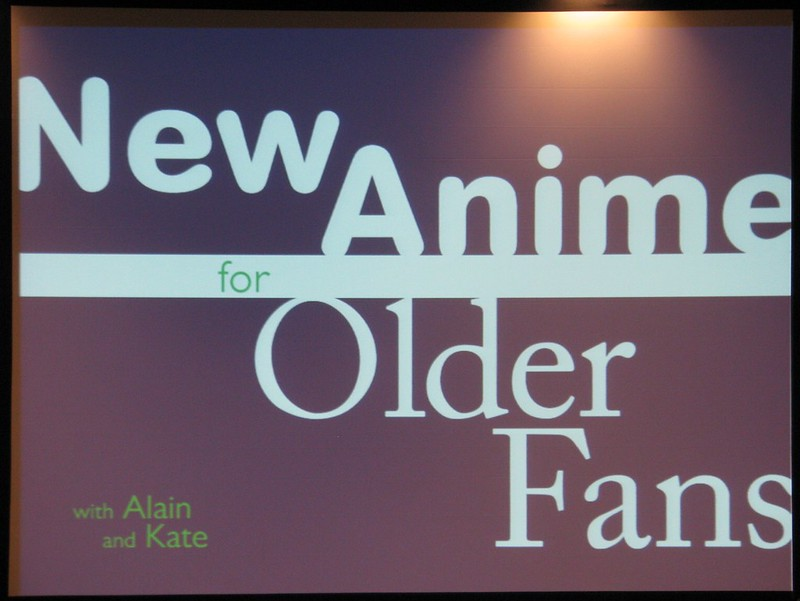 "The title slide from the Reverse Thieves' ""New Anime for Older Fans"""