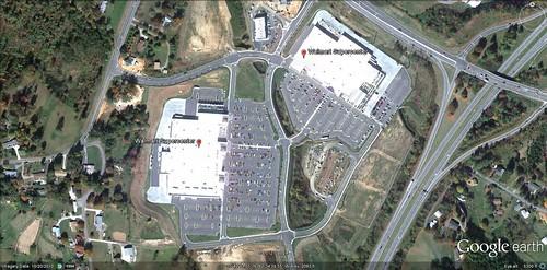 Walmart Supercenter, Buncombe County, NC (via Google Earth)