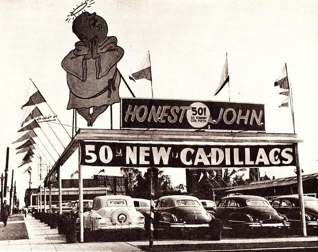 honest john 39 s used car lot los angeles ca 1947 flickr photo sharing. Black Bedroom Furniture Sets. Home Design Ideas
