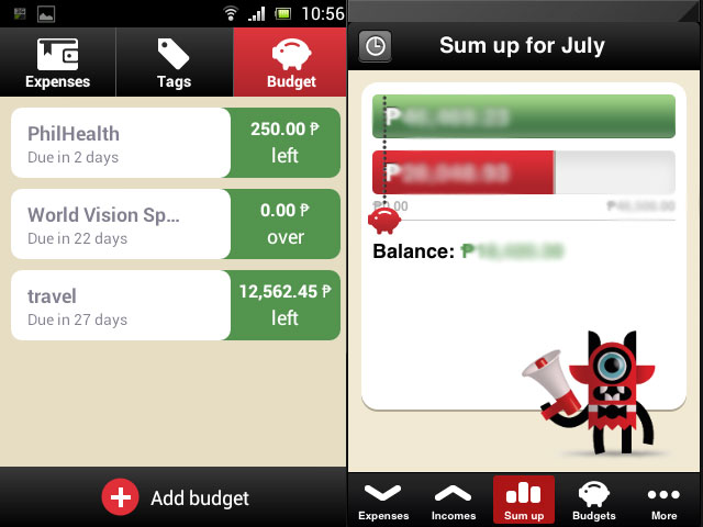 New features added this year are budgets and income
