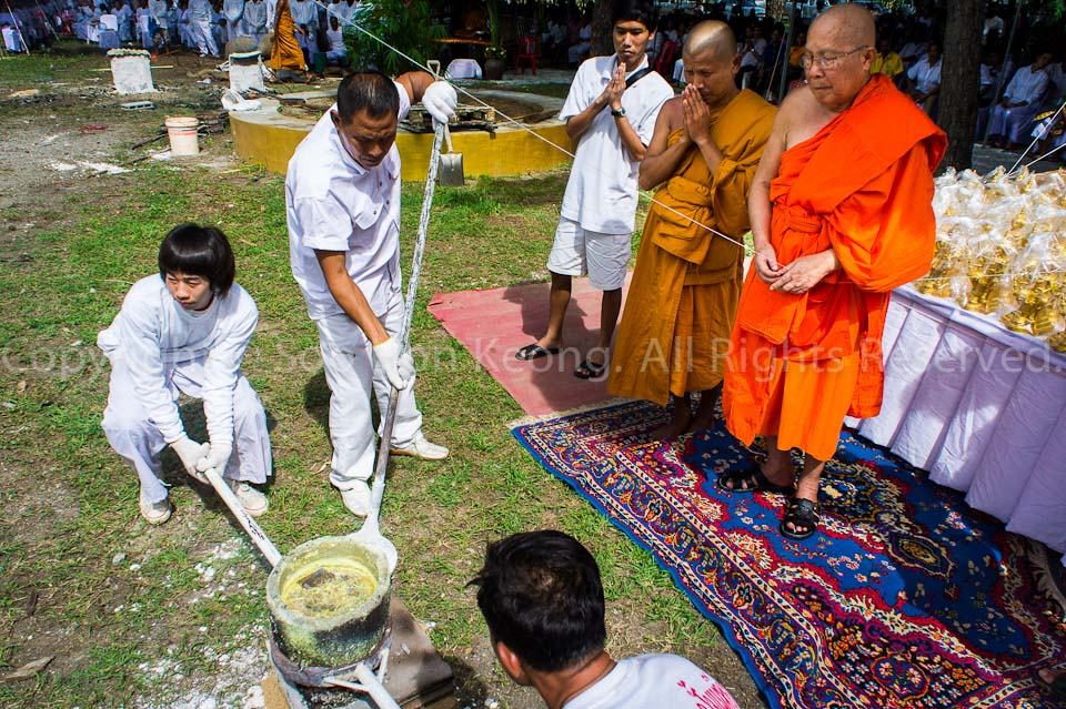 "Chief Monk bless the 1st boil ""Gold"" @ Wat Bo Rahaeng, Kanchanaburi, Thailand"