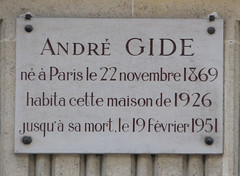 Photo of André Gide white plaque