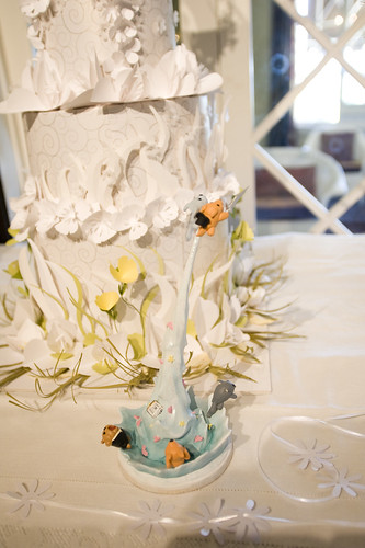 Our handmade cake topper, made by the groom's best friend by jessicaseamstress