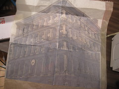 building printed on tracing paper