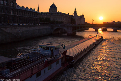 Seine River Traffic, Sunset