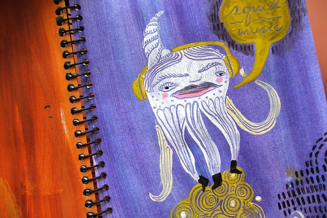 art journal page: squid music