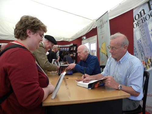 Peter Higgs and Frank Close and fan