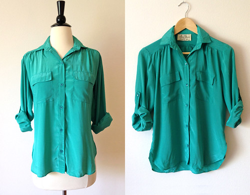 mint green roll sleeve silk shirt
