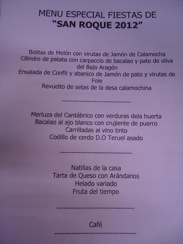 Calamocha (Teruel) | Hotel Fidalgo | Carta