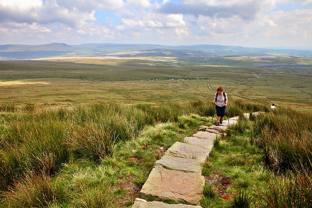 walkers walking up ingleborough, a mountain in the Yorkshire Dales
