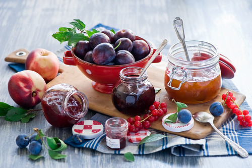 Summer fruit and jam