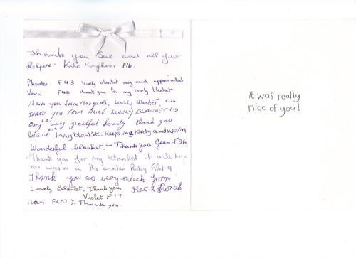Very nice card from the Residents thanking us for their blankets.