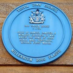Photo of Old Sarum House, Samuel Dampier, and John Ryall Mayo blue plaque