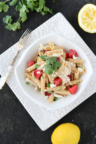Chicken Pasta Salad Recipe with Plums, Feta & Cumin Dressing