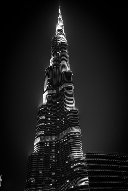 Black and White Burj Khalifa at Night